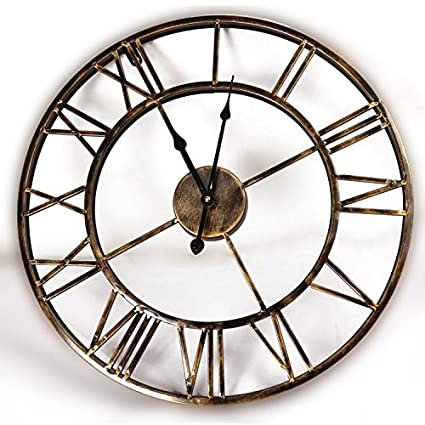 XIE@20inches DIY Vintage 3D Large Wall Clock Wrought Iron Wall Clock Watch Saat Digital