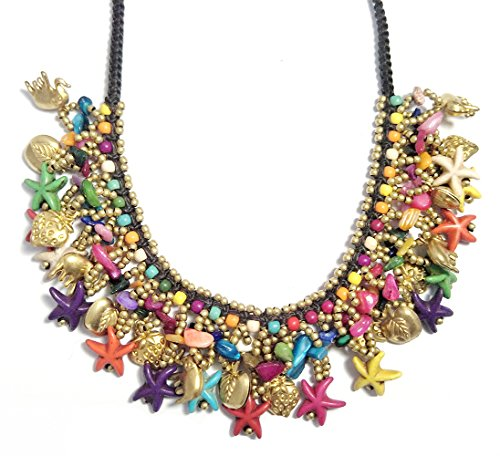 Round Necklace Rubber (Bohemian Beaded Necklace Starfish Heart Animal Pedant Necklace for Women (Multicolor))