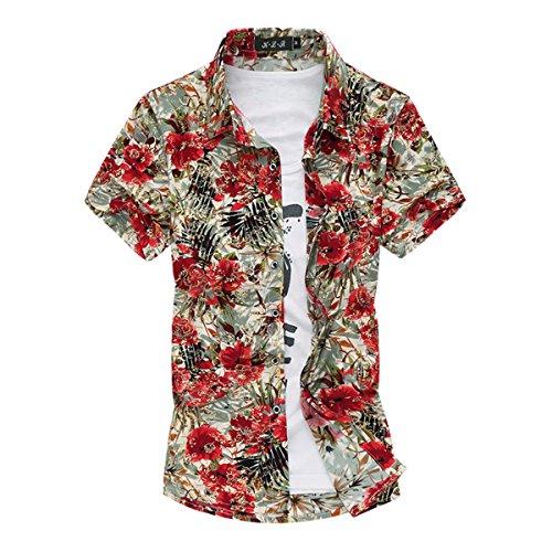 Pishon Men's Short Sleeve Shirt Cotton Floral Button Up Hawaiian Shirts (XS-3XL), Red1, Tag Size XXXXXXXL=US Size 3XL