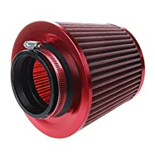Car Air Filter - SODIAL(R) Universal Car Air Filter Vehicle Induction Kit High Power Mesh Cone Red Finish