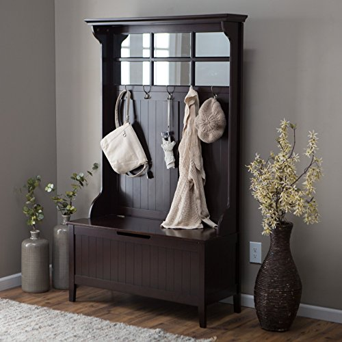 Clean and Classic Hall Tree with Storage Bench Solid Wood Frame and Birch Veneer Panels Bead Board Paneling Rich Espresso Finish 5 Double Hooks Paned Mirror Top Entryway Furniture Décor (Tree Bead Frame)