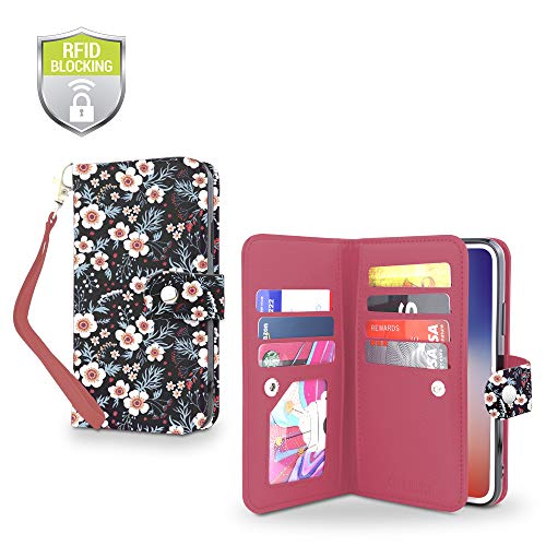 Hidden Wristlet - Gear Beast Flip Cover Dual Folio Case fits iPhone 8 Plus / 7 Plus Wallet Case Slim Protective PU Leather Case 7 Slot Card Holder Including ID Holder 2 Inner Pockets Stand Feature Wristlet with RFID