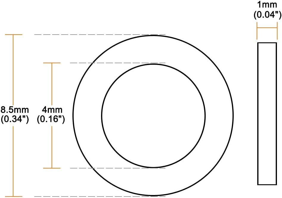 Arandelas planas de nailon para tornillos 50 unidades Sourcingmap