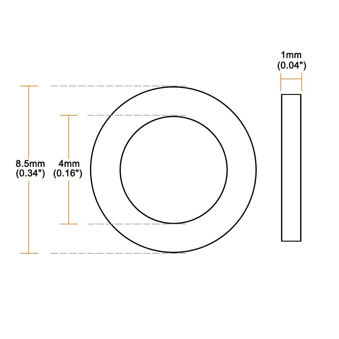 sourcing map arandelas planas de nylon para tornillo m18 tornillo 27mm od 1mm espesor claro 200pcs