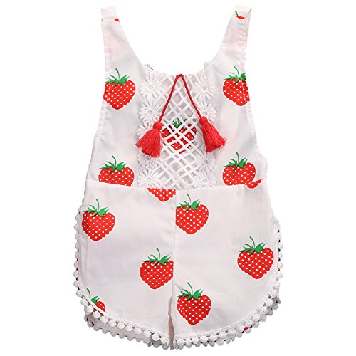 ONE'S Infant Baby Toddler Girls Lace Tassel Ball Floral Strawberry Bodysuit Romper Outfits (12-18 Months, Red)