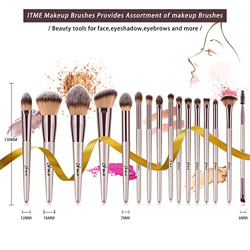 Makeup Brushes, ITME [Upgrade Version] Premium Makeup Brush Synthetic Cosmetics Professional Handle Makeup Brushes set, Kabuki Foundation Blending Makeup Brush Kit (Pack of 16,Rose Gold Champagne)