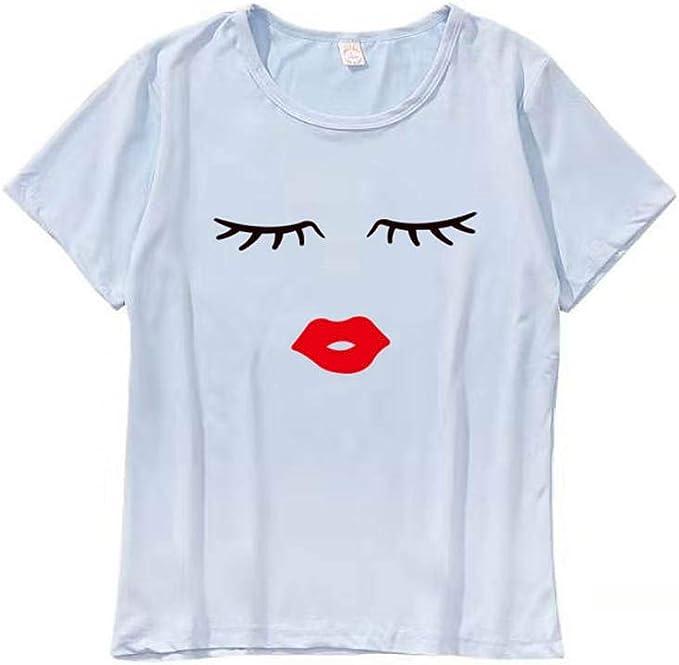 Xinantime Camisas de Manga Larga, Mujers Tops Camisas de Manga Corta NiñAs Imprimir Cute Eyes Lash Impreso O-Cuello Camisetas Casuales Blusas Sueltas para Damas: Amazon.es: Ropa y accesorios
