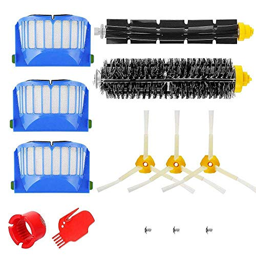 Price comparison product image Replacement Accessory for iRobot Roomba 600 Series (500, 536 550, 610, 620, 630, 650, 660) with 3Pcs Filter, 3-Armed Side Brush, Bristle & Flexible Beater Brush, 3 Screw, Cleaning Tool, Set of 13