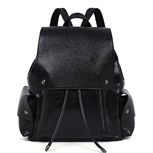 KaiSasi New Fashion Double Pocket Canvas Shoulder Bag Handbag College Wind Backpack(Black) (Canvas Double French Wallet)