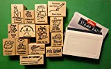 Spanish/English Teacher's Rubber Stamp Set of 14, with Stamp Pad