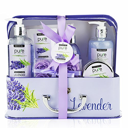 Valentines Day Gift for Women! Lavender Essential Oil Spa Gift Basket. Valentine Gift For Her! L ...