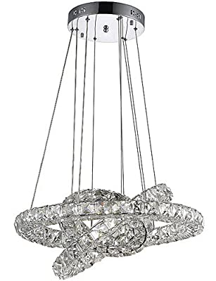 qiuxi High-end fashion Interior Ceiling lamp LED Ring Crystal Pendant Lights Chandeliers Hanging Lamps Fixtures with 3 Round Ring 40W LED Source CE FCC ROHS , warm white-110-120v