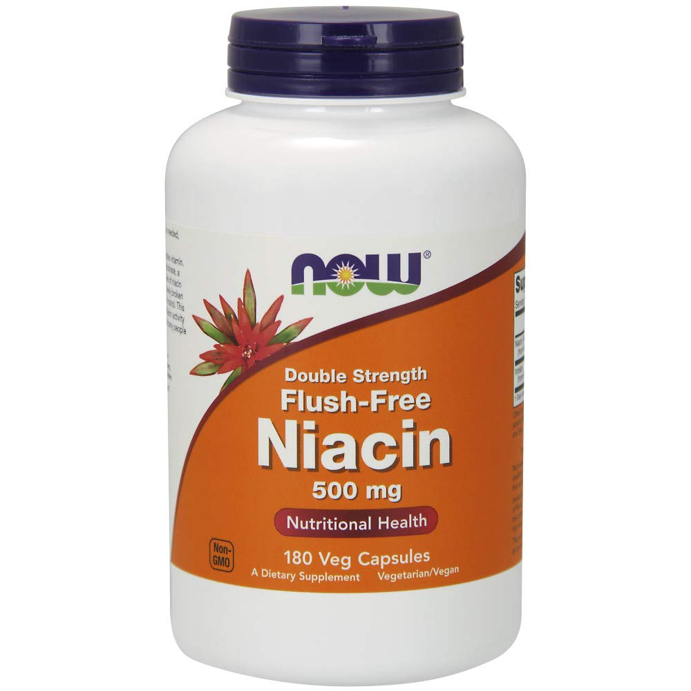 Now Supplements, Flush-Free Niacin 500 mg, 180 Veg Capsules