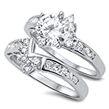 Prime Jewelry Collection Sterling Silver Bright Women's Colorless Cubic Zirconia Round Solitaire Wedding Set Ring (Sizes 4-12) (Ring Size 7)