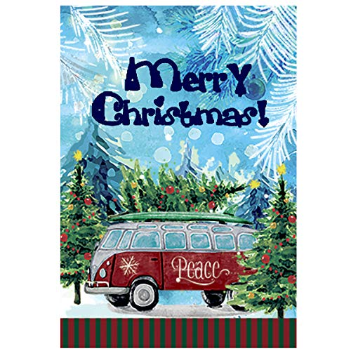 (Morigins Merry Christmas Trees Decorative Snowflakes Winter Peace Holiday House Flag 28 x 40 Double Sided)
