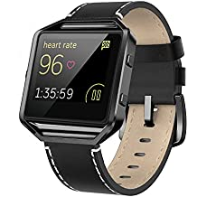 """Fitbit Blaze Bands Leather with Frame Small Large (5""""-8.2""""), Andyou Genuine Leather Replacement Band with Silver/Rose Gold/Black Metal Frame for Fitbit Blaze Women Men, Black, Brown, White, Pink, Blue"""