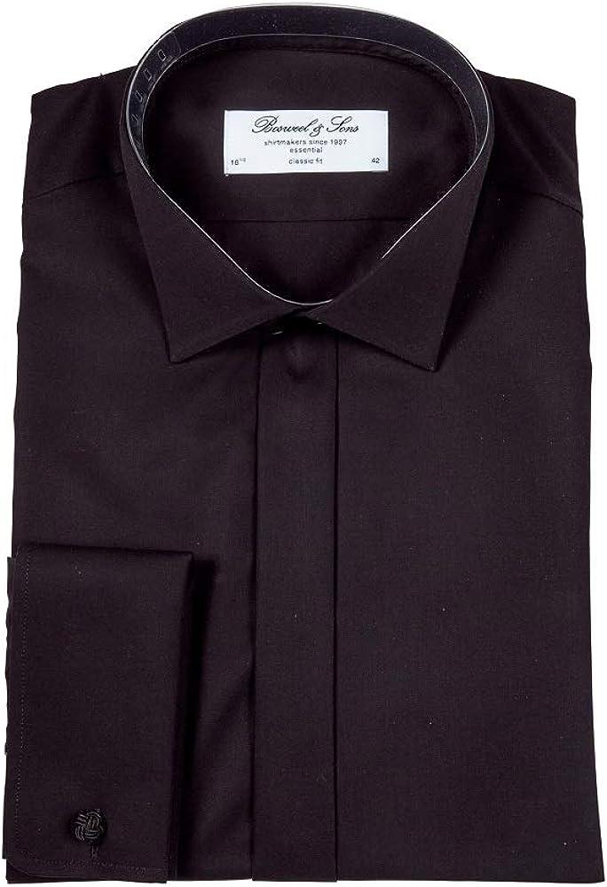 Bosweel - Camisa para hombre con cuello de lóbulo negro ...