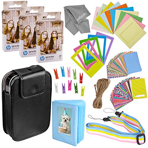 Zink Photo Paper and Frames Kit - 60 Pack - Sticker Paper for HP Sprocket 2-in-1 Portable Printer - Sticky 2x3 Sheets for Printing Pocket Size Phone Pictures - with Photo Album, Case, Frames, Clips (In 1 2 Frame Photo)