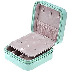 Yoption PU Jewelry Holder Box Display Accessories Ring Earring Bracelet Storage Zipper Case PU Leather Portable Traval Jewelry Box Organizer (Pink-green)