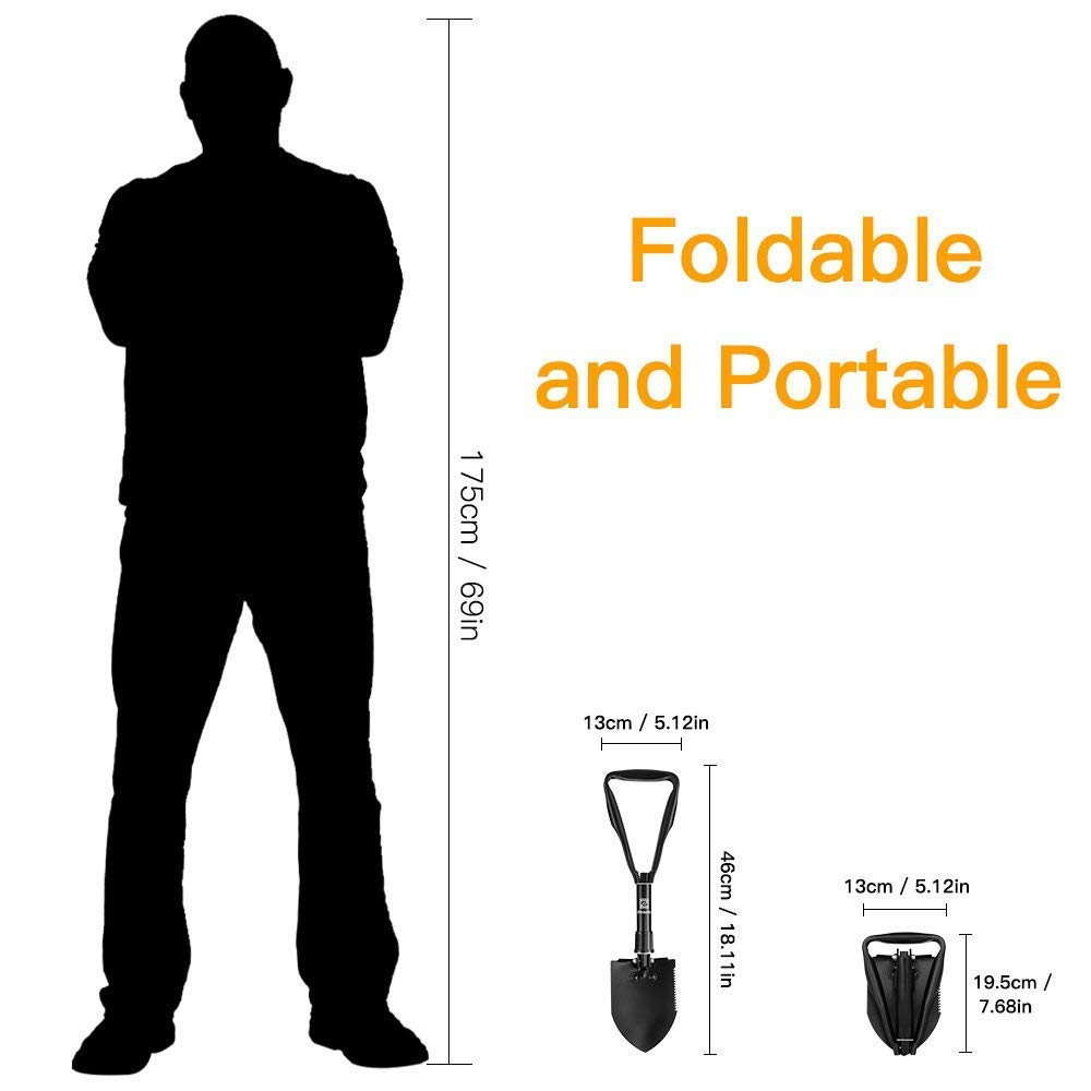 Z ZANMAX Foldable Military Shovel - Mini Emergence Survival Compass Spade Entrenching Tool with Carrying Pouch for Camping, Hiking, Backpacking, Gardening with Rubber Handle