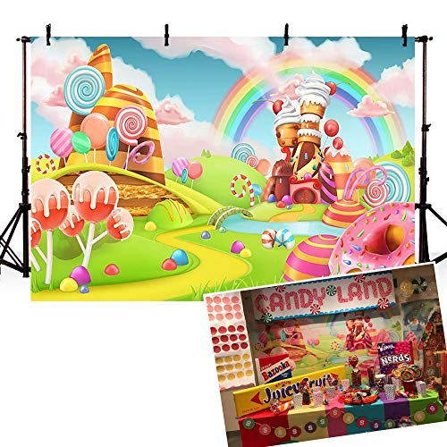 (COMOPHOTO Candyland Photography Backdrop 7x5ft Lollipop Donut Sweet Rainbow Candy Backgrounds Baby Shower Birthday Kid Birthday Party Banner Decorations Photo Studio)