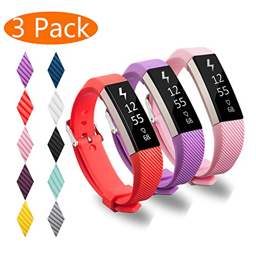 KingAcc Compatible Replacement Bands for Fitbit Alta HR, Fitbit Alta, Silicone Fitbit Alta HR Band Alta Band, Buckle Wristband Strap Women Men (3-Pack, Pink&Purple&Red, Small)