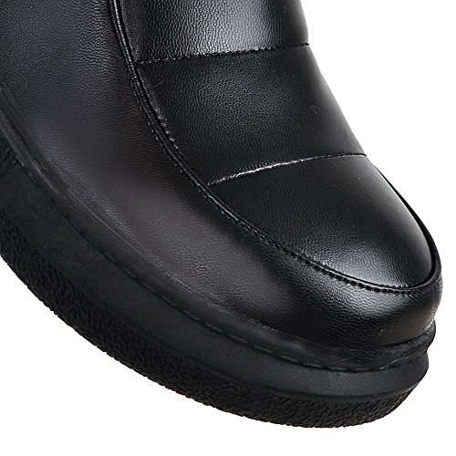 AllhqFashion Mujeres Puntera Cerrada Caña Baja Mini Tacón Sólido Pu Botas Negro