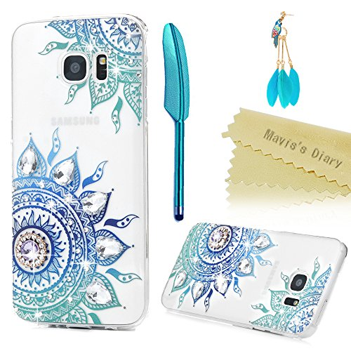 Galaxy S7 Edge Case - Mavis's Diary 3D Handmade Bling Crystal Shiny Sparkle Diamonds Blue Totem Flowers Pattern Full Edge Clear Hard PC Cover for Samsung Galaxy S7 Edge & Dust Plug & Stylus - Edge Plug