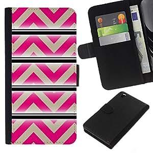 Modelo rosado beige líneas abstractas- la tarjeta de Crédito Slots PU Funda de cuero Monedero caso cubierta de piel Para HTC DESIRE 816