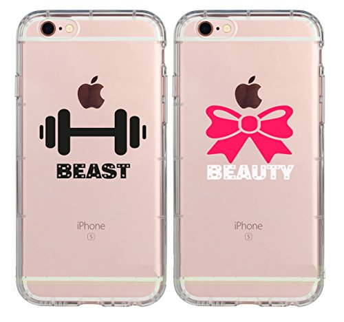 Cute Funny Cool Anniversary Couple Matching Cases for Boyfriend Gym Girl Beauty and Beast Need Each Other Love Girlfriend Couples Matching Cases Replacement for iPhone 7 Plus/iPhone 8 Plus