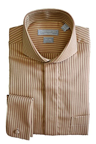 Herringbone Stripe Dress Shirt (Christopher Lena Men's Wrinkle Free Herringbone Stripe Cutaway Collar Dress Shirt - Gold (15 1/2 -)