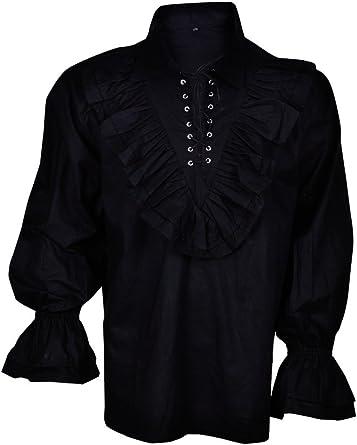 BARES Renacimiento Casual Verano Camisa de Pirata Medieval Hombre Disfraz Negro pequeño: Amazon.es: Ropa y accesorios