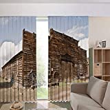 iPrint Children's Room Curtains Thermal Insulated BlackoutCurtain Window Curtains,Mercantile with Wagon Wheels Ghost Town Decorative 108Wx63L Inch