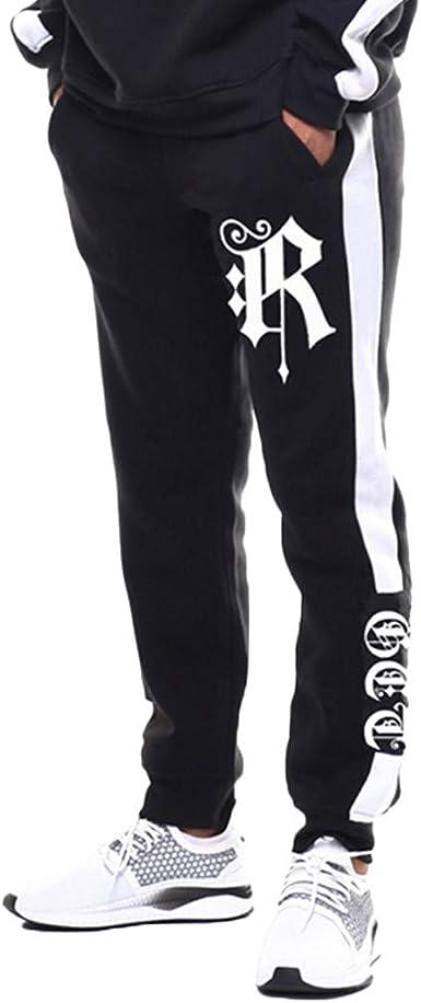 VPASS Pantalones Hombre, Impresión de Letras Pantalones de ...