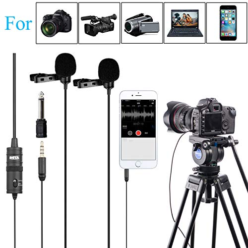 - PC Microphone Dual-head Lavalier for Smartphones Cameras, 157 Inches/4m BOYA Universal Mic with 1/8 Adapter for iPhone X 8 7 Canon Nikon DSLR Camcorders Audio Recorder Podcast Youtube Video Livestream