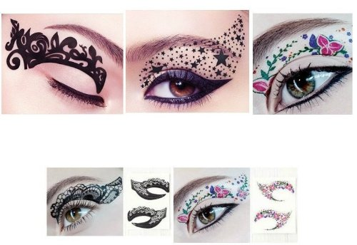 [Hitece 10 paires Temporary Eye Tattoo Transfer Eyeshadow Stickers Eyeliner] (Fairy Makeup)