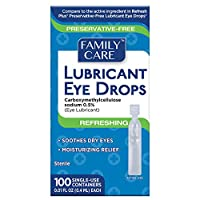 Family Care Refreshing Lubricant Eye Drop Preservative Free Single Use Vials Easy to Carry and Store Individually Sealed Units of 5 vials Vial Size of 0.01 Fluid Oz (0.4ML) 1 Package (100 Count)