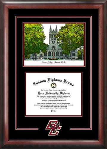 (Campus Images MA994SG Boston College Spirit Graduate Diploma Frame with Lithograph Print, 12.8