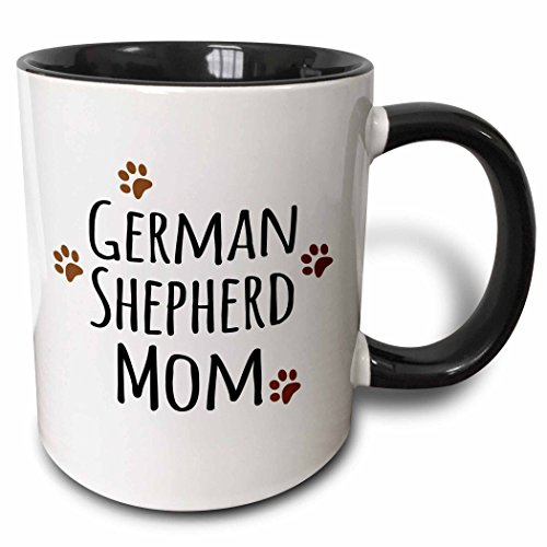 3dRose mug_154123_4 German Shepherd Dog Mom Alsatian Doggie by Breed Brown Muddy Paw Prints Doggy Lover Mama Two Tone Black Mug, 11 oz, Black/White -