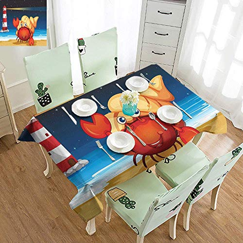 GUUVOR Crabs Iron-Free Anti-fouling Holiday Long Tablecloth Illustration of Marine Creature Under a Shell at The Beach at Night with a Lighthouse Table Decoration W70 x L84 Inch Multicolor ()