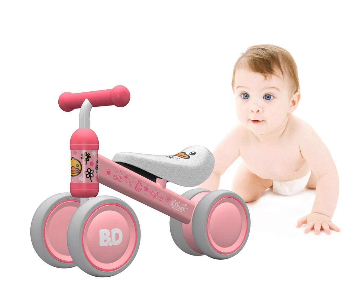 Mingzheng Baby Balance Bike for one Year Old Boys and Girls 4 Wheels Baby Toy Walker 6-24 Months No Pedal (Pink Duck)