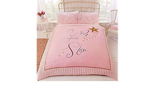 Rapport Wish upon a star pink and gold Duvet Set Double CHEAPEST ON
