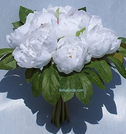 Amazon silk peonies bouquet white home kitchen silk peonies bouquet white mightylinksfo