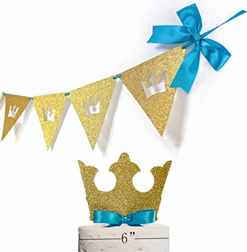 Royal Prince Banner Royal Prince Cake Topper, King Crown Cake Topper with Royal Blue Bow, Royal Prince Baby Shower Decorations, Highest Quality, Set of 2