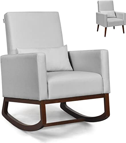 Giantex Armchair Multifunctional High Back Chair W/Fabric Cushion,Wooden Tapered and Rocking Legs Both Included Dual Purpose