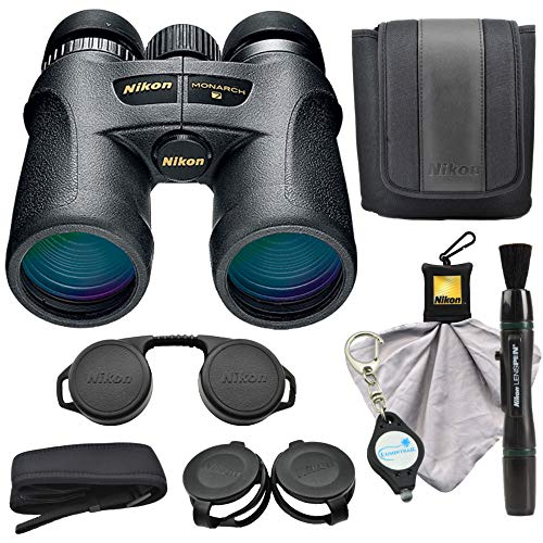 Nikon Monarch 7 10×42 Binoculars 7549 , Black Bundle with a Nikon Cleaning Cloth, Lens Pen and a Lumintrail Keychain Light