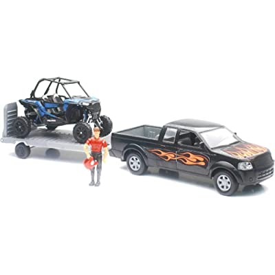 New-Ray 959-0114 Replica 1:18 Truck/Trailer/Utv Truck Black/Rzr Blue: Toys & Games