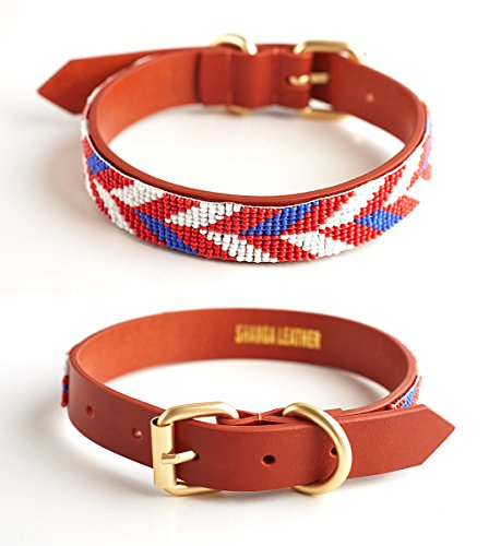 Purrlala Handmade Beaded Leather Dog Collar (Chevron Old Glory, L) | Hand Beaded on Fine Leather | Polished Brass Accents | D - American Leather Collar