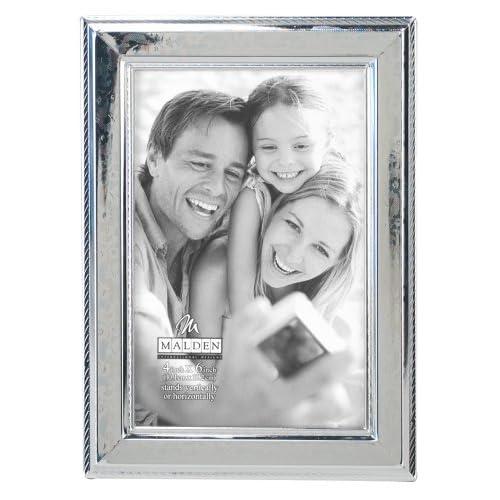 Malden International Designs Fashion Metals Embossed Floral Picture Frame, 4x6, Silver