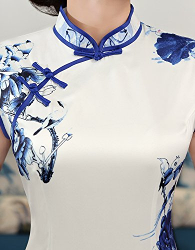 ACVIP Women Cap Sleeve Chinese Paint Floral Maxi Qipao Side Split Cheongsam (China S/Bust:32.3'') by ACVIP (Image #3)